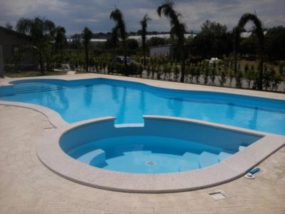 panoramica completa della piscina con idromassaggio di giorno